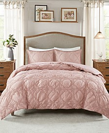 Theresa Full/Queen 3-Pc. Ruched Rosette 2-in-1 Duvet Cover Set