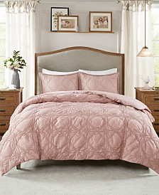 Madison Park Theresa Full/Queen 3-Pc. Ruched Rosette 2-in-1 Duvet Cover Set