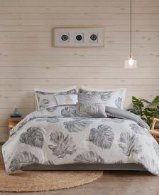 Amoria Queen 7-Pc. Printed Seersucker Palm Comforter Set
