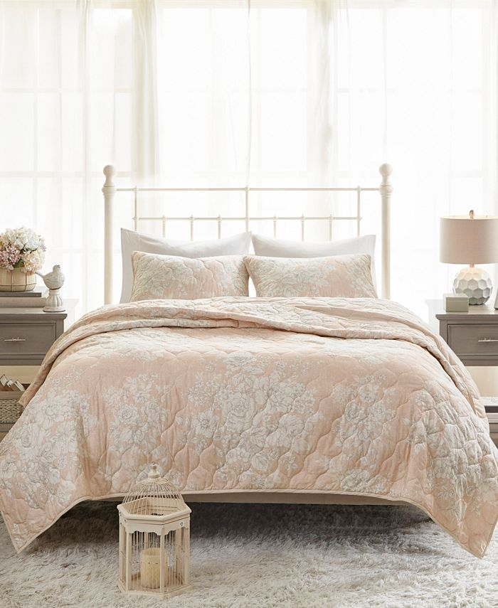 Madison Park - Gloria Full/Queen 3 Piece Cotton Printed Reversible Quilted Coverlet Set