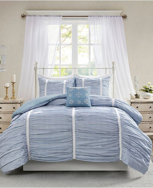 Madison Park Ana Full/Queen 4-Pc. Ruched Cotton Duvet Cover Set