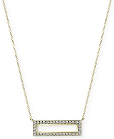 "White Beaded Bar 18"" Pendant Necklace in Gold-Plate Over Sterling Silver"