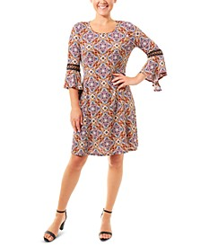 Printed Crochet-Trim Dress