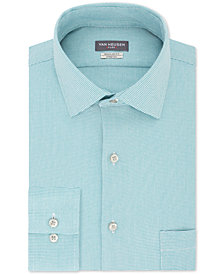 Van Heusen Men's Classic/Regular-Fit Performance Stretch Wrinkle-Free Flex Collar Micro-Houndstooth Dress Shirt