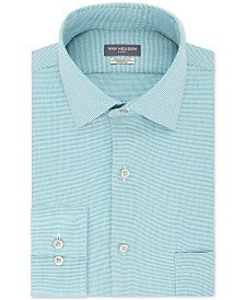 Van Heusen Men's Classic/Regular-Fit Performance Stretch Wrinkle-Free Flex Collar Micro-Houndstooth Dress Shirt