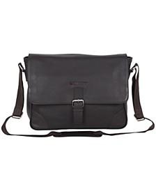 "Karino Leather Crossbody 15"" Computer Travel Messenger Bag"
