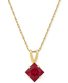 "Lab-Created Ruby Square 18"" Pendant Necklace (1/2 ct. t.w.) in 14k Gold"