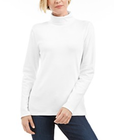 Karen Scott Petite Cotton Turtleneck Top, Created for Macy's