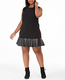 Plus Size Sleeveless Faux-Leather-Hem Dress