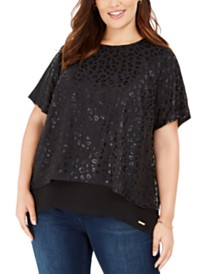 Michael Michael Kors Plus Size Leopard-Print Slit-Back Top