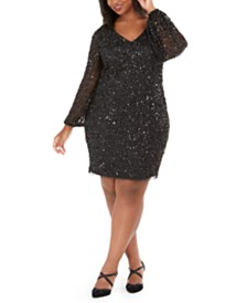 Adrianna Papell Plus Size V-Neck Beaded Cocktail Dress