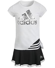 Little Girls T-Shirt & Striped Skort