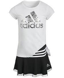 adidas Little Girls T-Shirt & Striped Skort