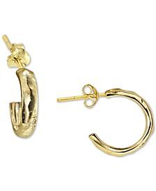 Chunky Hammered Huggie Hoop Earrings in Sterling Silver
