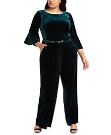 Plus Size Belted Velvet Jumpsuit