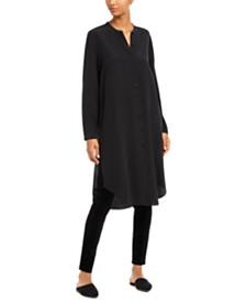 Eileen Fisher Silk Mandarin-Collar Button-Up Tunic