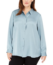 Eileen Fisher Plus Size Classic Silk Shirt