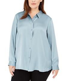 Eileen Fisher Plus Size Classic Silk Shirt