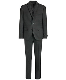 Big Boys Classic-Fit Stretch Charcoal/Wine Red Windowpane Suit Separates