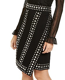 I.N.C. Studded Wrap Skirt, Created for Macy's