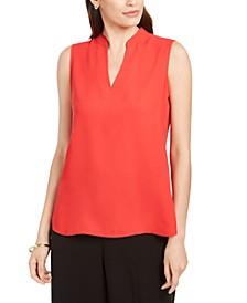 Sleeveless Mandarin-Collar Blouse