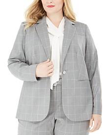 Calvin Klein Plus Size Windowpane-Print Single-Button Blazer