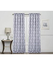 """Damask Print 100% Blackout Grommet Curtain, 84"""" x 50"""""""