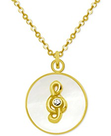 "Gold-Tone Crystal Music Note Mother-of-Pearl 18"" Pendant Necklace"