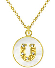 """Gold-Tone Crystal Horseshoe Mother-of-Pearl 18"""" Pendant Necklace"""