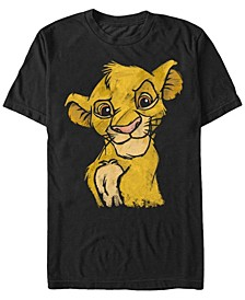 Disney Men's Young Simba Smiling Portrait Sketch Short Sleeve T-Shirt