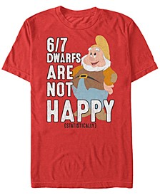 Disney Men's Snow White Statistically 6/7 Dwarfs are Unhappy Short Sleeve T-Shirt