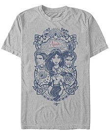Disney Men's Live Action Group Shot Line Art Poster Short Sleeve T-Shirt