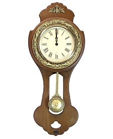 Uniquewise Classic Wood Wall Clock with Swinging Pendulum