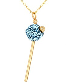 Simone I. Smith 18K Gold over Sterling Silver Necklace, Light Blue Crystal Mini Lollipop Pendant