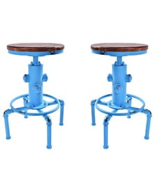 Starship Industrial Backless Adjustable Barstool in Antique and Rustic Ash Wood Seat - Set of 2