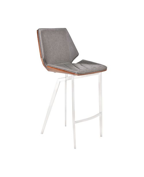 Remarkable Rebecca Modern 26 Counter Height Bar Stool In Brushed Stainless Steel With Faux Leather And Walnut Back Gmtry Best Dining Table And Chair Ideas Images Gmtryco