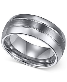 Triton Men's Ring, 8mm Classic Tungsten 3-Row Wedding Band