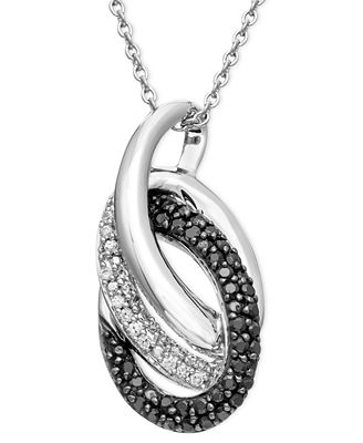 Sterling Silver Necklace, Black and White Diamond Double Oval Pendant (1/3 ct. t.w.)