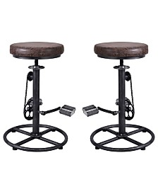 Today's Mentality Bicycle Industrial Adjustable Barstool in Brushed with Fabric Seat - Set of 2