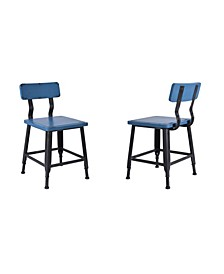 Andrew Industrial Metal Dining Chair in Brushed with Antique Wood Seat and Back - Set of 2