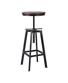 Thomas Industrial Backless Adjustable Metal Barstool in Brushed with Rustic Pine Wood Seat