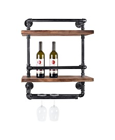 Today's Mentality Cabo Industrial Floating Brushed Pipe Wall Shelf with Walnut Wood