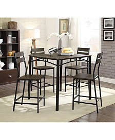 Benzara Metal and Wooden Counter Height Table Set