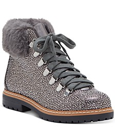 INC Women's Pravale Lace-Up Hiker Bling Booties, Created for Macy's
