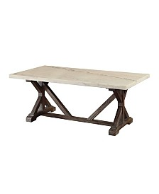 Benzara Coffee Table with Marble Top