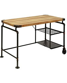 Industrial Metal Writing Desk with Mango Wood Top