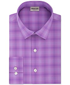 Kenneth Cole Reaction Men's Slim-Fit All Day Flex Performance Stretch Plaid Dress Shirt