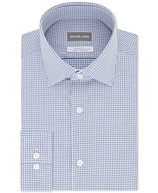 Men's Classic/Regular-Fit Non-Iron Airsoft Performance Stretch Knit Check Dress Shirt