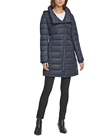 Petite Asymmetrical Hooded Down Puffer Coat