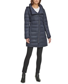 DKNY Petite Asymmetrical Hooded Down Puffer Coat